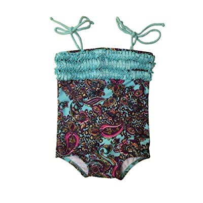 Baby Girls Blue Paisley Pattern Boho Chic Trimmed One Piece Swimsuit 24M