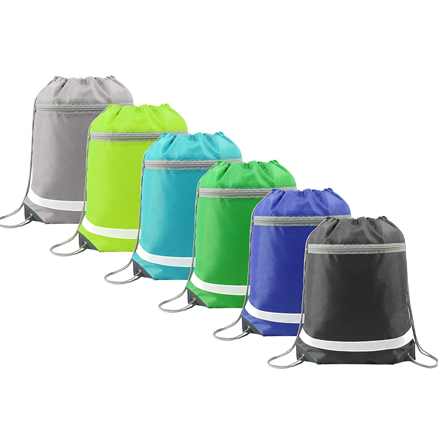 Amazon.com   Drawstring Backpack Bags Bulk with Pocket, Cheap Gym Sacks  Reflective Cinch Bags Sackpack 6 Pack   Drawstring Bags 44a166fae8