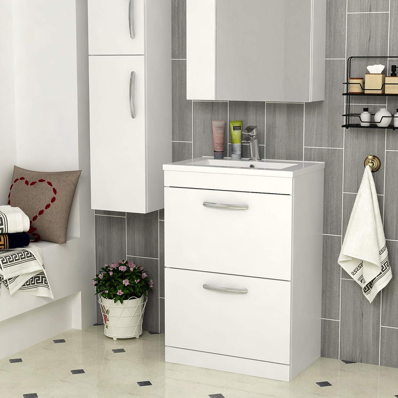 500mm Wall Hung Bathroom Vanity Unit Minimalist Basin 1 Drawer Storage Cabinet Furniture Gloss White