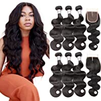 Beauty Princess Brazilian Body Wave with Closure 8a Unprocessed Brazilian Virgin Hair 3 Bundles with Middle Part Closure Natural Black Human Hair Bundles With Closure(18 20 22with 16)