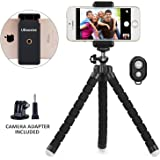 Phone Tripod, UBeesize Premium Flexible Travel Tripod Portable and Adjustable Camera Stand Holder with Remote and Universal Clip for iPhone, Android Phone, Mini Tripod Stand Holder for Small Camera and GoPro (Black)
