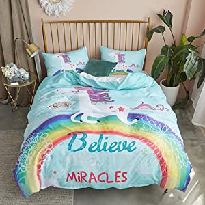 Argstar 2 Pcs 3D White Unicorn Duvet Cover Set Twin, Cute Rainbow and Miracle Pattern Bedding Set, Lightweight Microfiber Comforter Cover for Girls Kids, 1 Duvet Cover and 1 Pillowcover