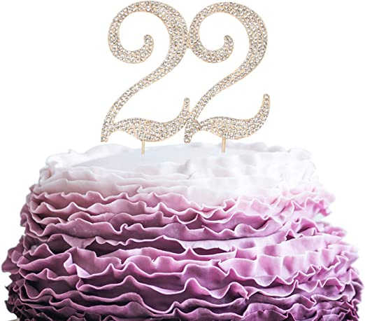 Awesome Amazon Com Lingpar 22 Years Birthday Cake Topper New Best Personalised Birthday Cards Sponlily Jamesorg