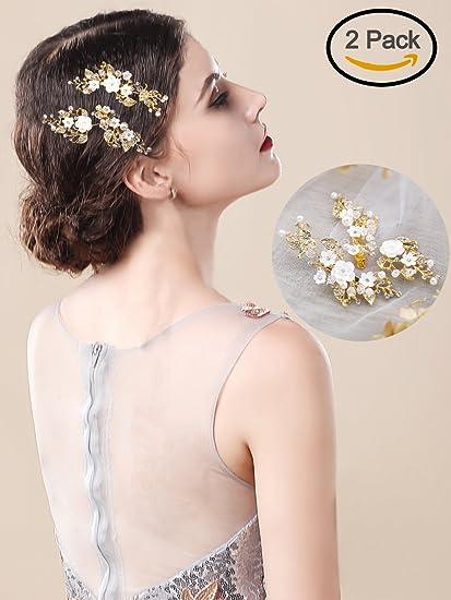 Handcess oro matrimonio fermagli mollette foglia fiore strass di cristallo  da sposa accessori per capelli per 4264043ef7db