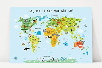 Amazon.com: Oh The Places You'll Go, World Map for Kids Poster