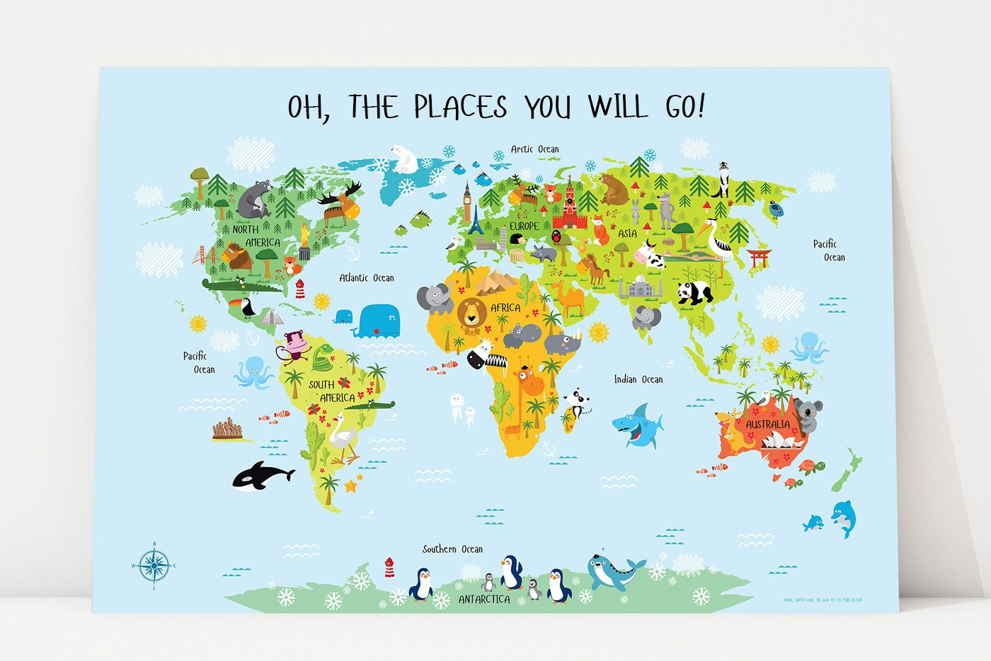 Oh The Places You'll Go, World Map for Kids Poster, Nursery Wall Art, Baby Nursery Décor, Oh, The Places You Will Go, Gifts for Toddlers (54''W x 36''H, Blue)