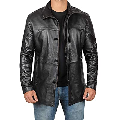 Mens Leather Jacket - Black Real Lambskin Leather Jackets for Mens at Men's Clothing store [5Bkhe0915981]
