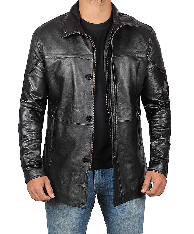 fjackets Bristol Men Black Jacket - Genuine Lambskin Black Leather Jacket for Men | [1500145], Bristol Black XL by fjackets