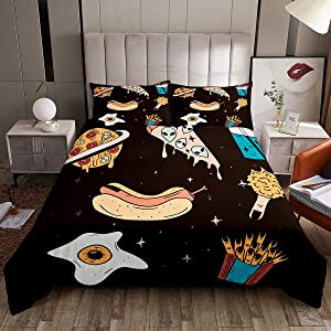 Castle Fairy Food Space Theme Comforter Cover Teens Youngs Pizza Planet Cream Rocket Duvet Cover Sets King French Fries Fried Egg 3 Pieces Bedding Sets(1 Duvet Cover 2 Pillow Cases)