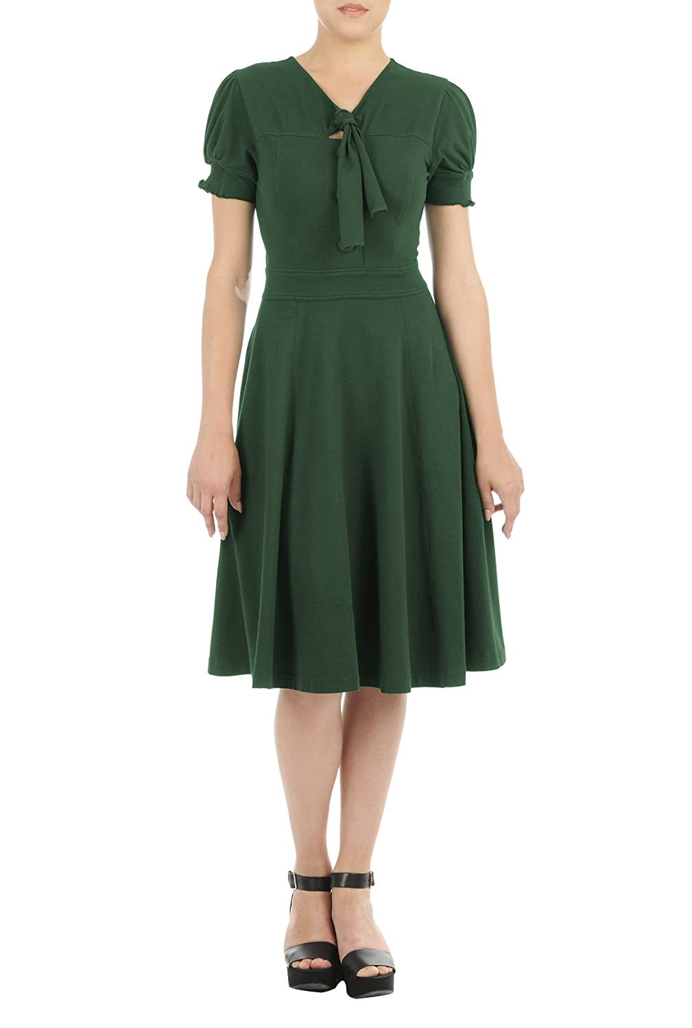 Vintage Inspired Clothing Stores  Tie-neck cotton jersey knit dress $62.95 AT vintagedancer.com