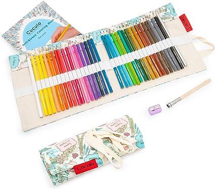 Lápices de colores en estuche enrollable de tela, libro de colorear, 36 lápices, basado en aceite, no tóxico, núcleo suave de 3,5 mm, estuche, sacapuntas, accesorio de extensión (Paris): Amazon.es: Oficina y