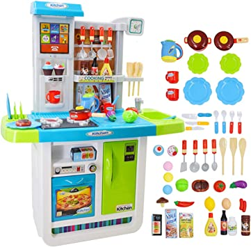 Water Features Pink deAO My Little Chef Pretend Kitchen Play Set Role with Induction Hob Lights Sounds and Accessories