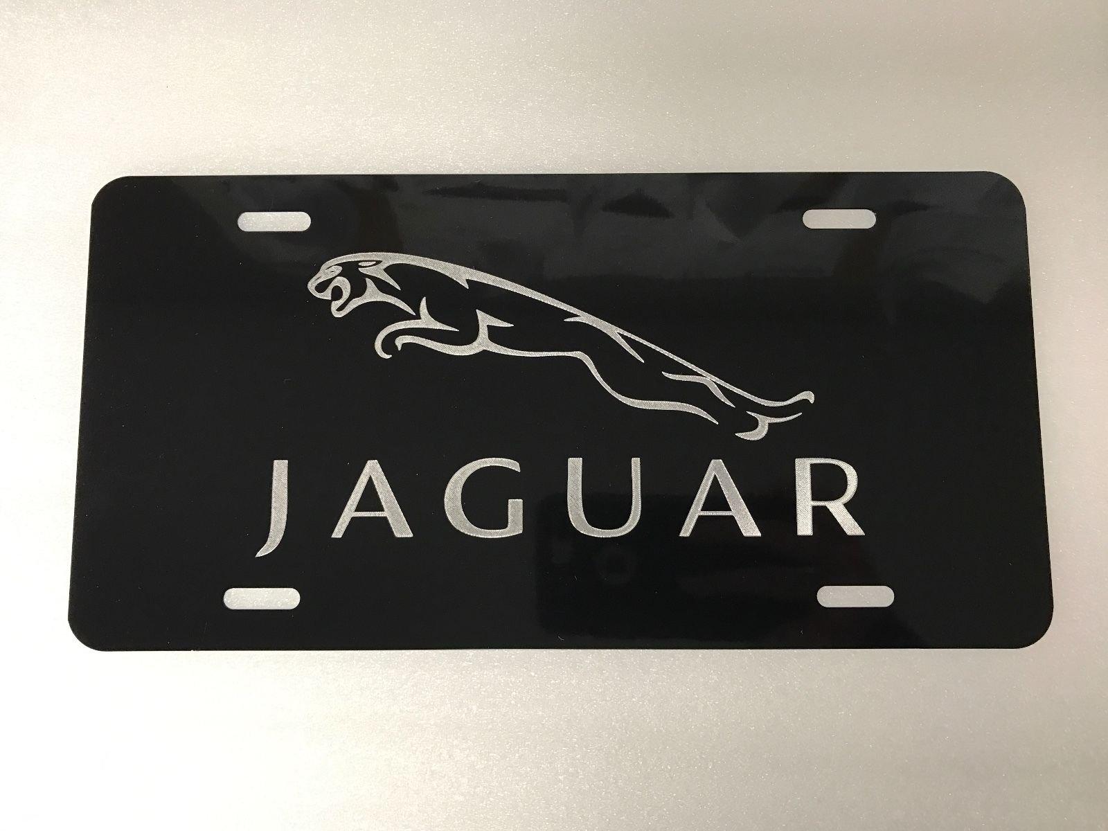 *JaguarLOGO* BLACK Metal License Plate Frame Tag Holder with Caps