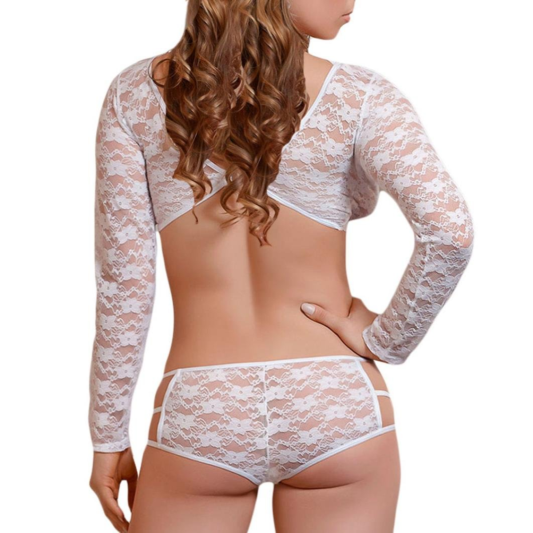 8fdac3ea7e2 Amazon.com  Tloowy Hot Sale! Clearance Women Sexy Strappy Lingerie Set See-through  Floral Lace Halter Bras with Pantie Underwear Babydoll Chemise Nightwear   ...