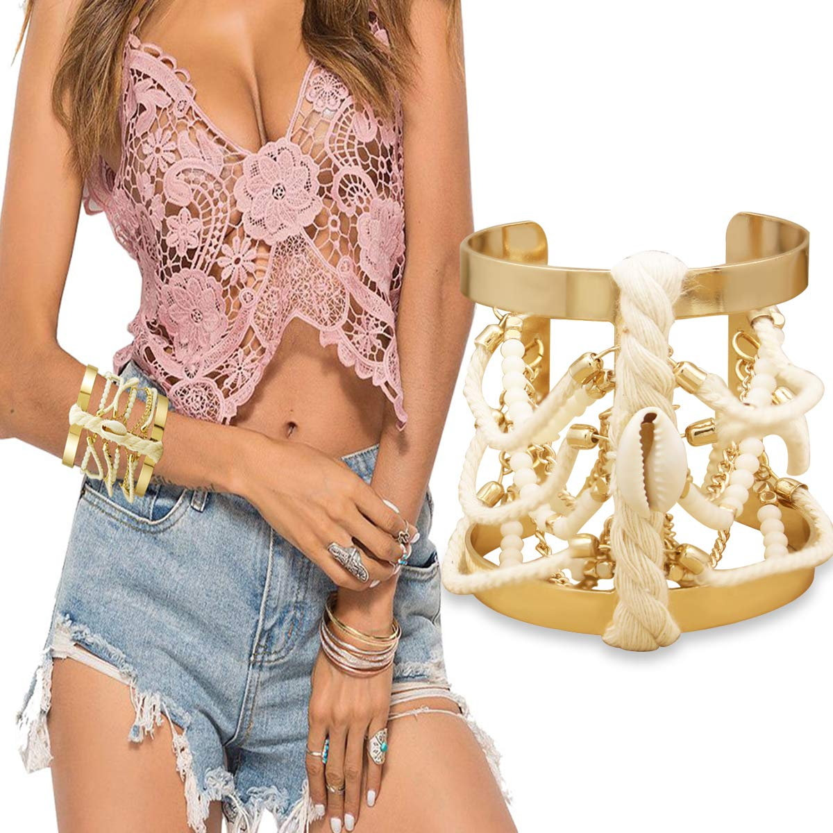 RechicGu Beach Shell Beaded Wide Braided Gold Metal Bracelet Bangle Cuff Gypsy Statement Gift