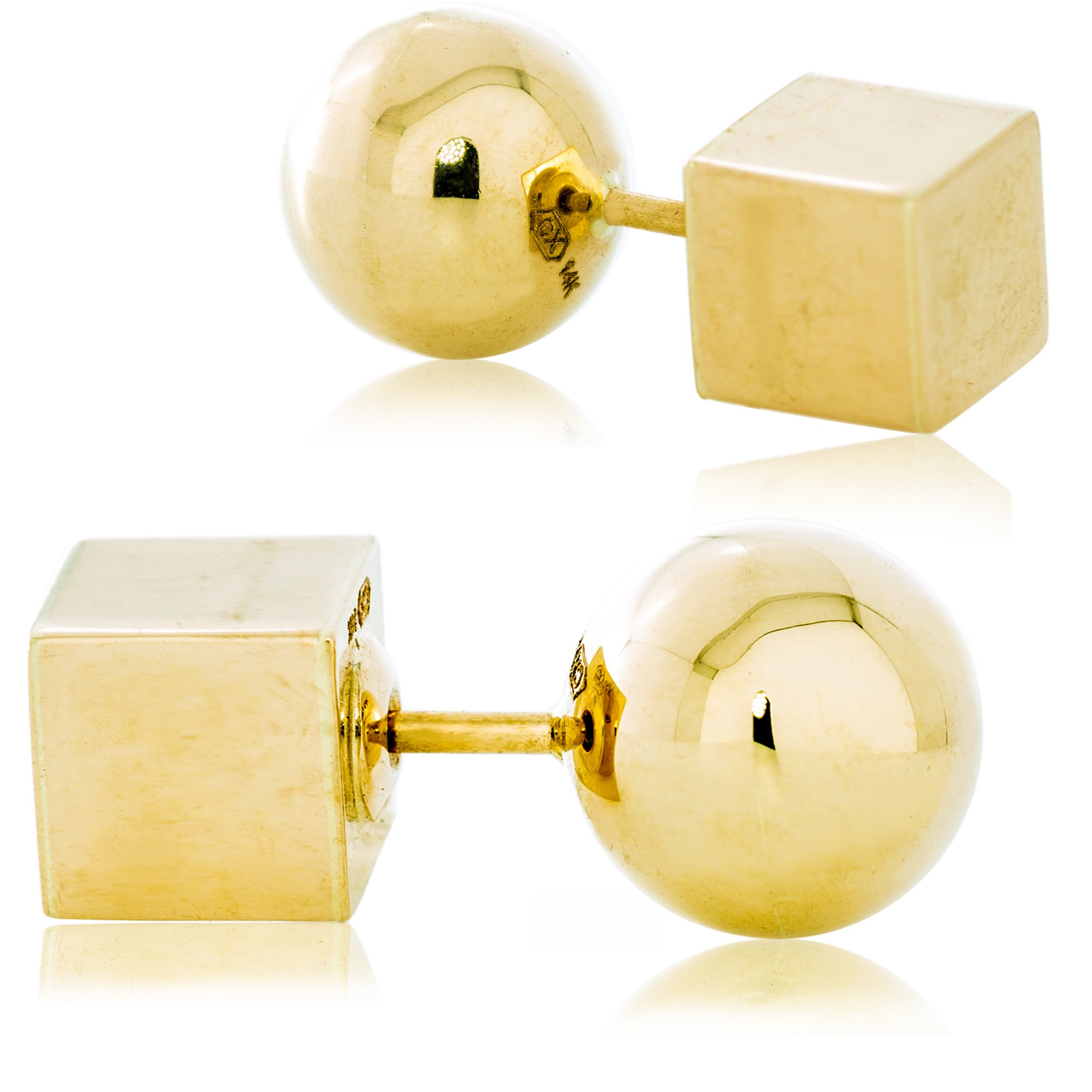 Solid Gold Ball and Cube Reversible Screw Back Earrings 14K Yellow Gold with Smooth Finish | 4.2g
