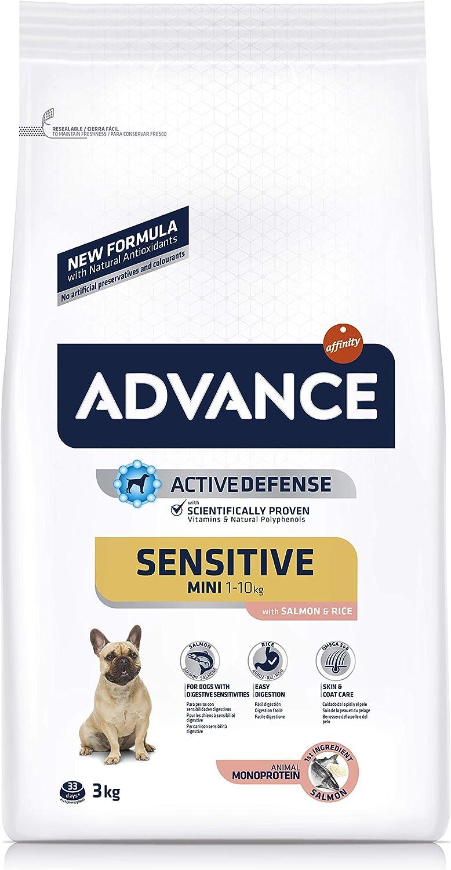 ADVANCE Sensitive Mini - Pienso para Perros de Razas Pequeñas con Sensibilidades Digestivas con Salmón y Arroz - 3kg