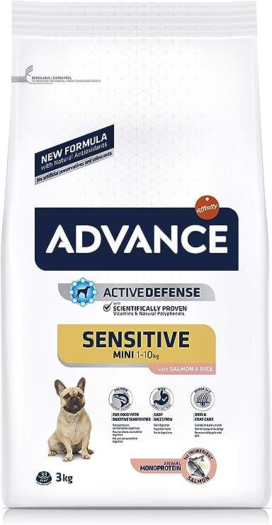 ADVANCE Sensitive Mini - Pienso Para Perros Adultos Con Sensibilidades Digestivas De Razas Pequeñas Con Salmón - 3 kg