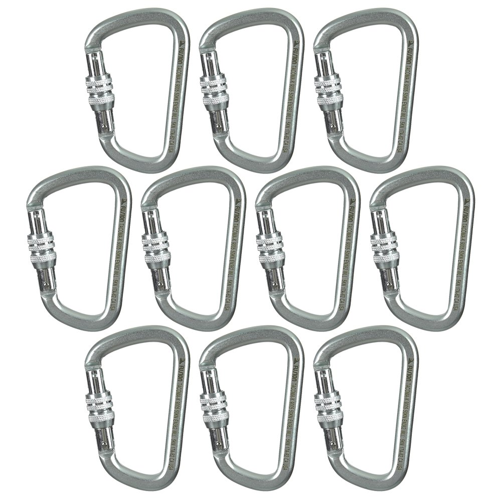 Fusion Climb Tacoma Steel Screw Lock Gate Modified D-shaped Carabiner Silver 10-Pack