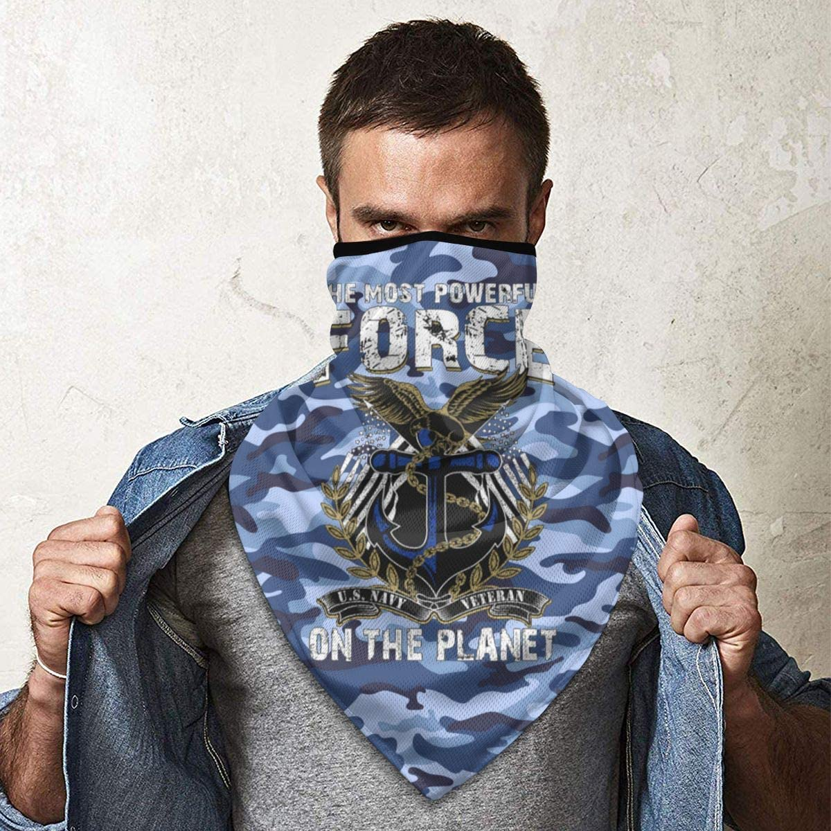 Navy Veteran Outdoor Face Mouth Mask Windproof Sports Mask Ski Mask Shield Scarf Bandana Men Woman U.S