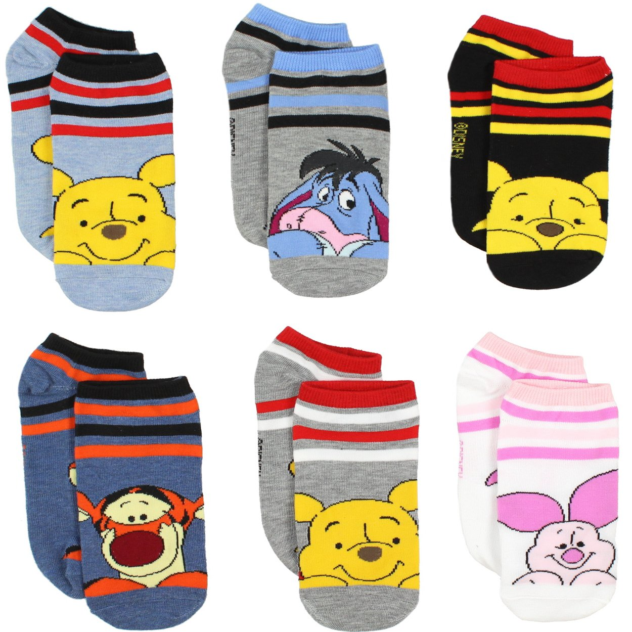 Winnie the Pooh Girls Womens 6 pack Socks (Toddler/Little Kid/Big Kid/Teen/Adult) manufacturer