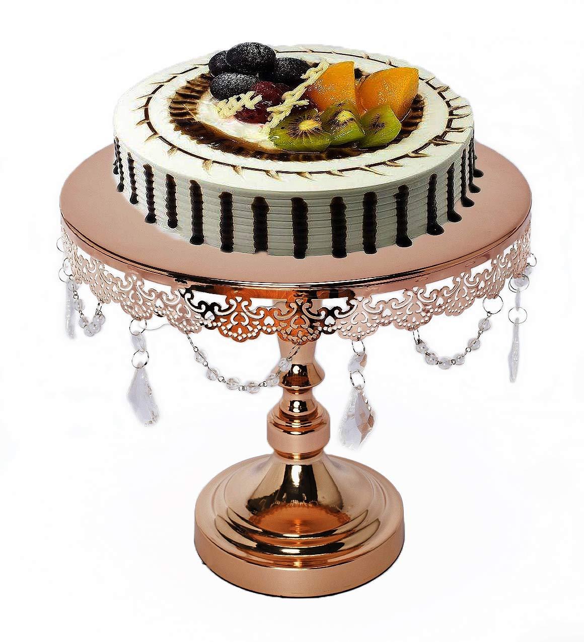 アンティークメタルラウンドゴールドケーキスタンド/カップケーキスタンド クリスタルとビーズ付き - 結婚式 誕生日 パーティー 記念日 キンセアニェーラ - デザートカップケーキフルーツペデスタル/ディスプレイ/プレート - 12インチ   B07MP84CDC
