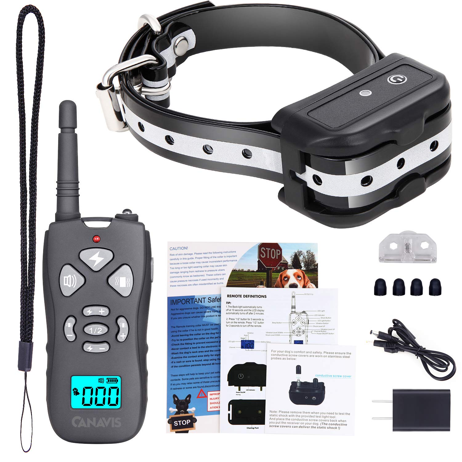 CANAVIS Dog Shock Collar with 1800Ft Remote, Waterproof Dog Training Collar, Rechargeable Electronic Collar with Vibration Tone Shock Modes, Adjustable Collar Strap for Small Medium Large Dog by CANAVIS (Image #7)