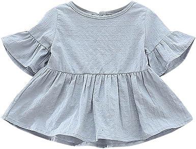 Weixinbuy Toddler Baby Girls Lotus Sleeve Solid Ruffled T-shirt Tops Blouse Tee