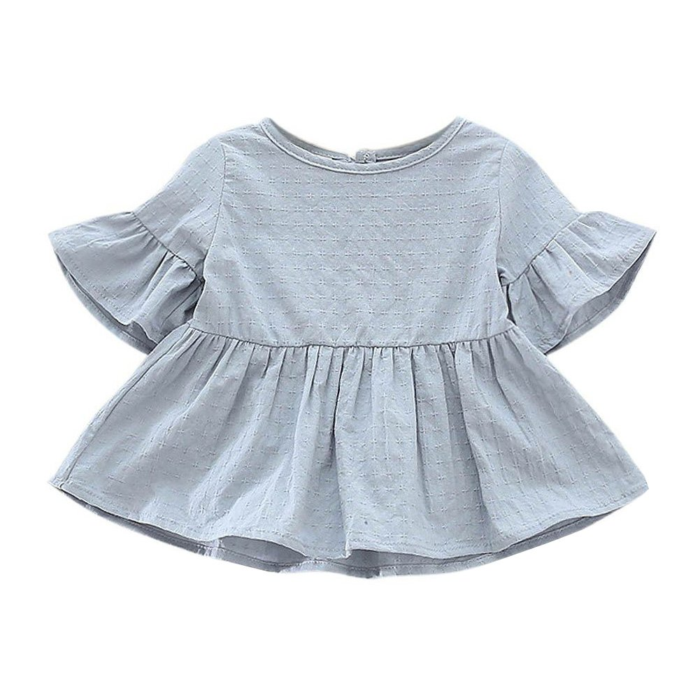 Weixinbuy Toddler Baby Girls Lotus Sleeve Solid Ruffled T-Shirt Tops Blouse Tee