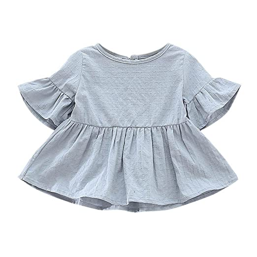 5c059db59c58 Image Unavailable. Image not available for. Color  Weixinbuy Toddler Baby  Girls Lotus Sleeve Solid Ruffled T-Shirt ...