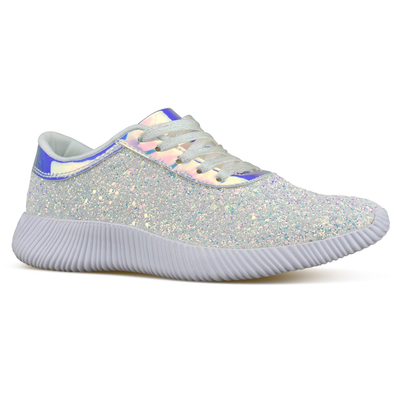 Premier Standard - Women's Lace Up Glitter Shiny Sneaker - Fashion Walking Shoe - Easy Everyday Fashion Slip On, TPS Sneaker-10Eiramesor White Size 7