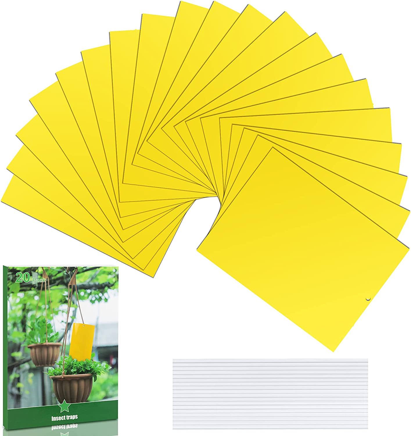 20 Pcs Yellow Sticky Traps,Dual-Sided Glue Flying Traps for Indoor/Outdoor Flying Plant Insect,Gnat Trap for Aphids,Fungus Gnats, White Flies, Leafminers, Thrips etc. 6x8 Inch