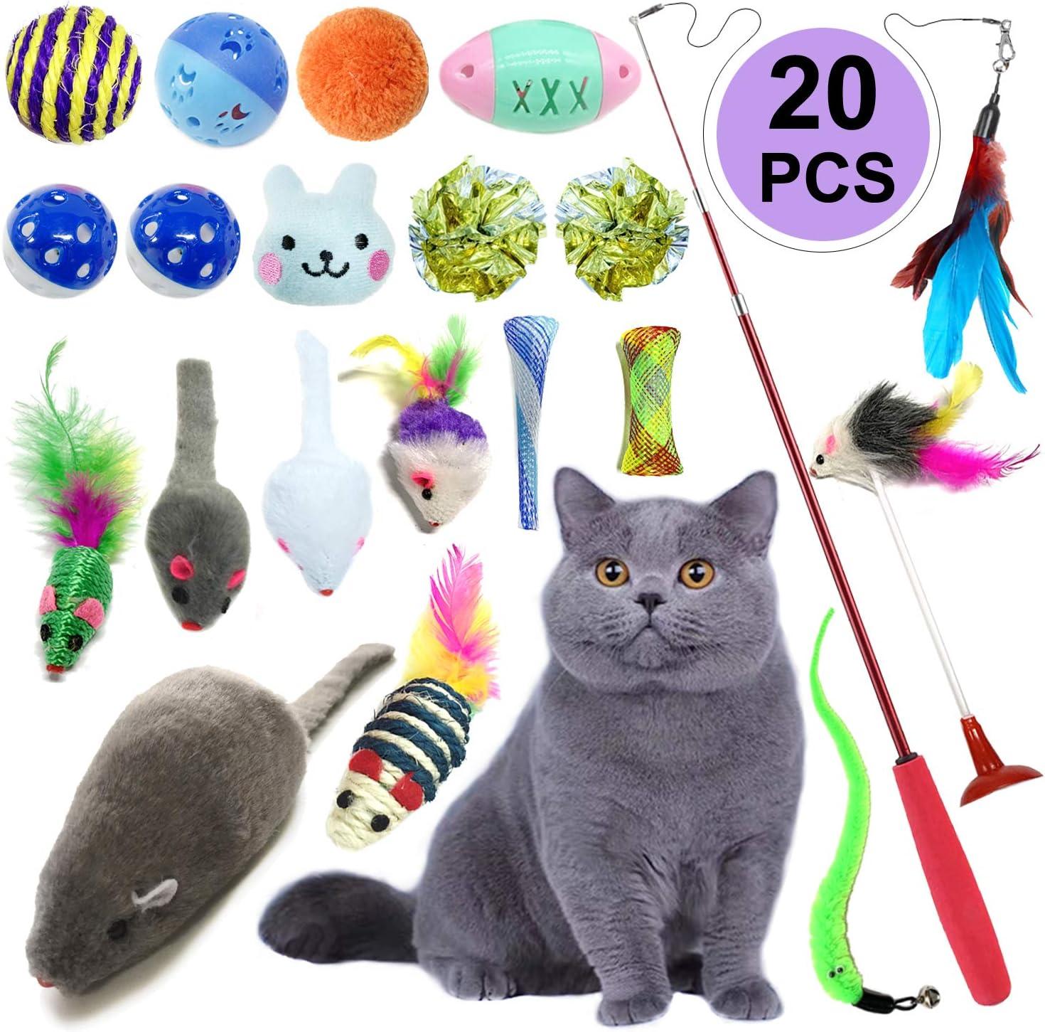piume naturali canna da pesca con topo giocattolo interattivo per attivit/à di gatto set di 2 bacchette giocattolo per gatti Tiantian