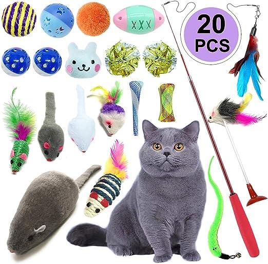 Juguetes Para Gatos 20 Piezas, PietyPet Juguete Interactivo Varita Retráctil con Gatos Ratón, Bolas Campanas, Plumas Cabezas de Repuesto Catnip Ball Juguetes Gatos para Kitty Mascota Gato Juguetes: Amazon.es: Productos para mascotas