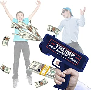 Money Gun with Donald Trump Flag Print | Cash Spray | 100 x Trump Dollar Bill | Rain Money Shotter