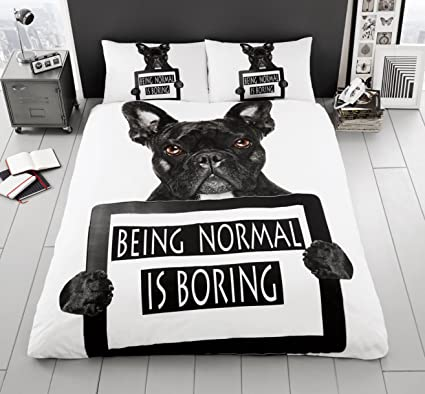 Doble francés Toro Perro 3d juego de cama de funda de edredón con funda de almohada