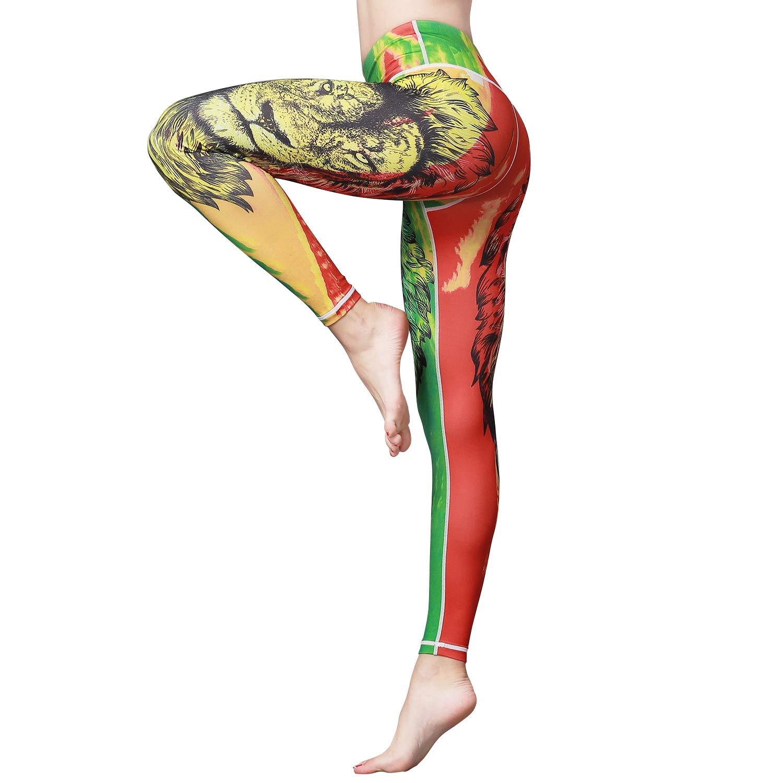 Hk49 Lion Witkey Printed Extra Long Women Yoga Leggings High Waist Tummy Control Over The Heel Yoga Pants