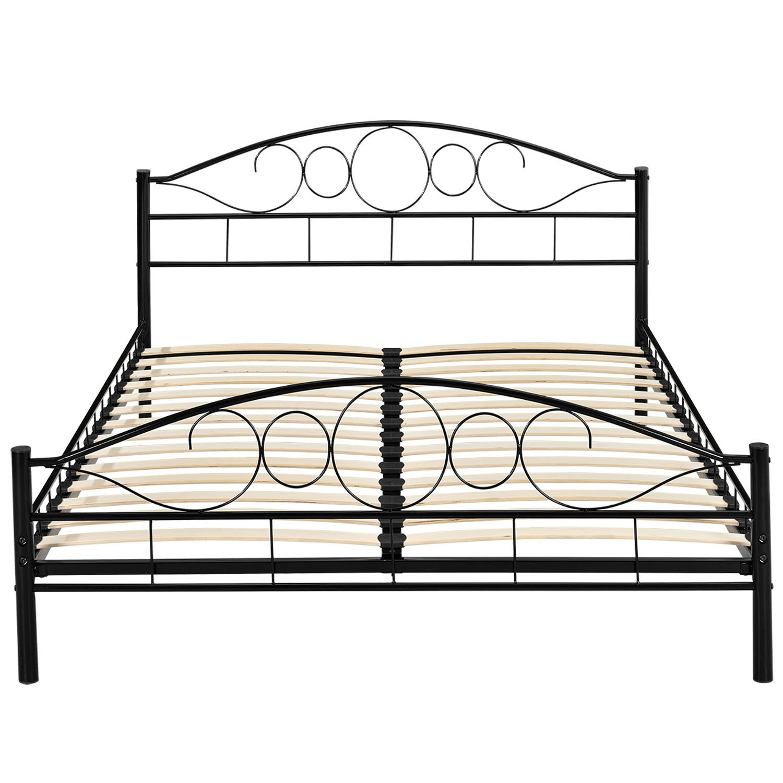 ehebett metallbett doppelbett 180x200 ehebett schwarz mit. Black Bedroom Furniture Sets. Home Design Ideas
