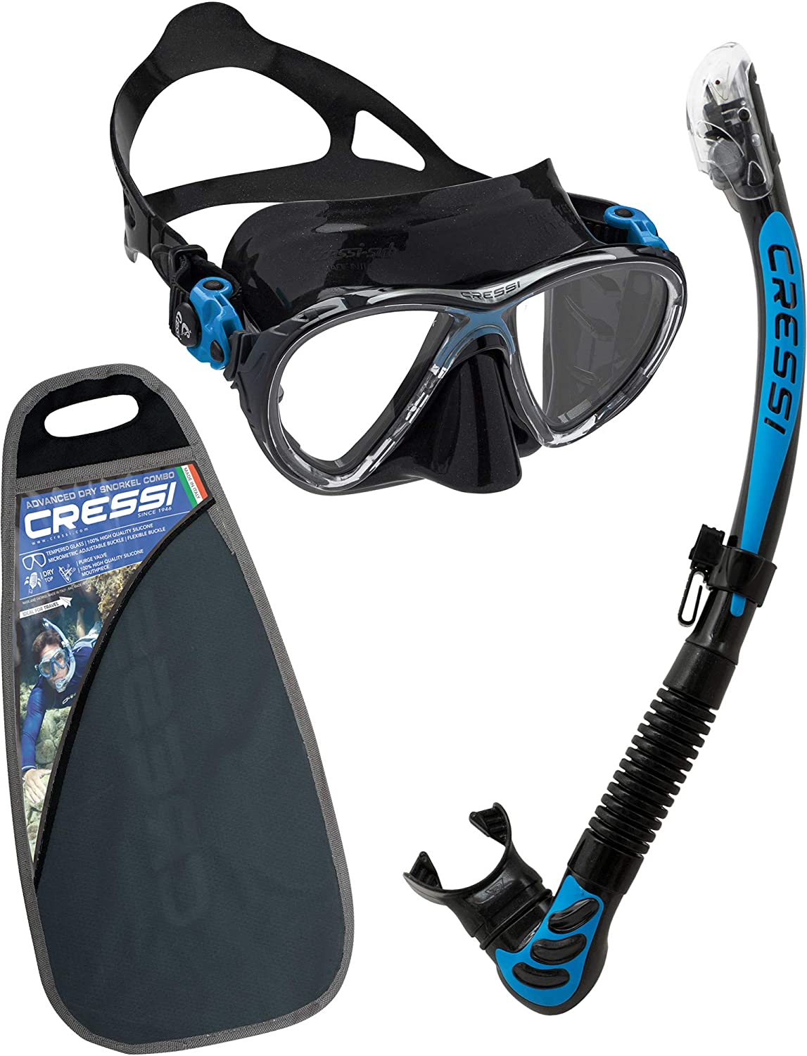 Cressi C/Set Big Eyes Evolution+Alpha/UD Professional Combo, Set per Immersioni e Snorkelling Unisex – Adulto, Nero/Blu, Uni Set per Immersioni e Snorkelling Unisex - Adulto WDS337520