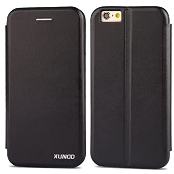 pretty nice 95a01 8ad1e XUNDD iPhone 6/6s Flip Folio Premium Leather Wallet Case with Credit Card  Slots Holder/Stand/Shockproof TPU Silicon Bumper for iPhone 6S Black