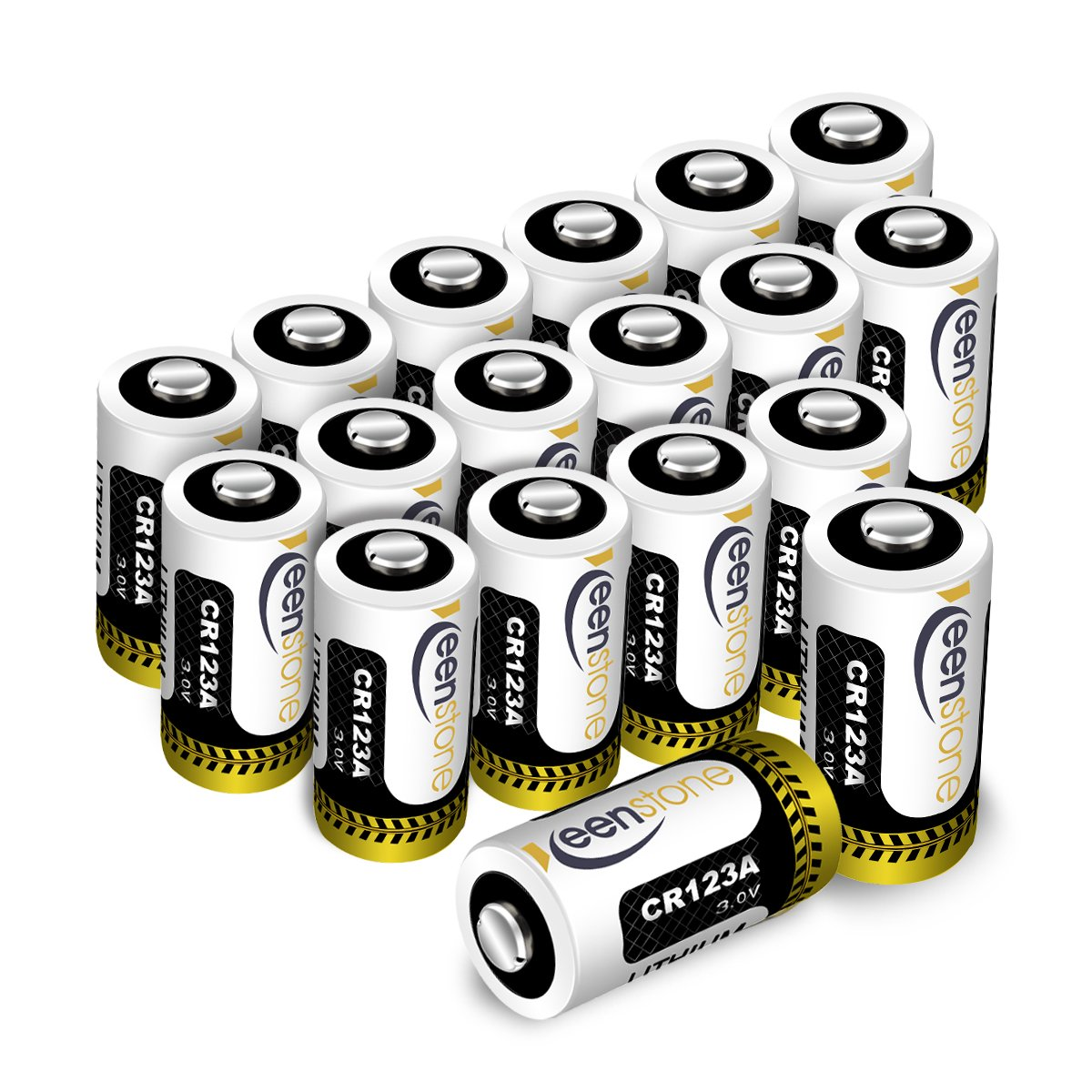[UL Certified] CR123A 3v Lithium Battery, Keenstone 1600mAh 18pack Primary Lithium Batteries CR123A Batteries for Flashlight Torch Microphones(Not Compatible with Arlo Cameras)