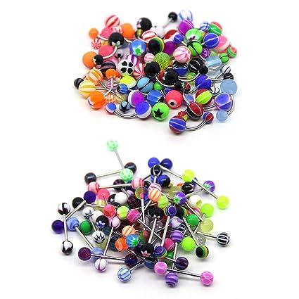 zhichengbosi 100 Mix unidades 50PC 14 G Ombligo anillos y lengua 50Pc 14 G anillo Kit