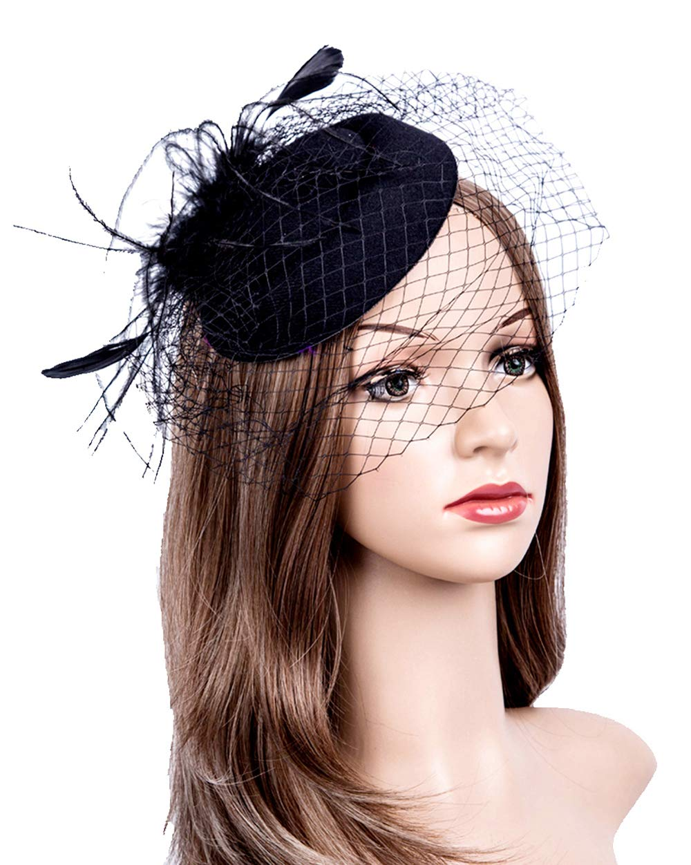 Fascinators Hats 20s 50s Hat Pillbox Hat Cocktail Tea Party Headwear with Veil for Girls and Women (1-B1-Black) by Cizoe