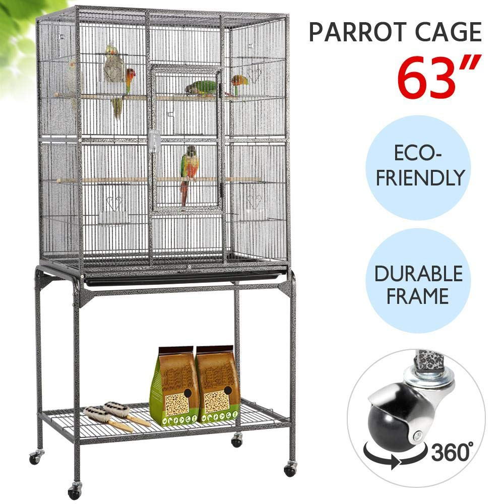 Yaheetech 63'' Wrought Iron Rolling Large Bird Cage for African Grey Small Quaker Amazon Parrots Cockatiels Sun Parakeet Green Cheek Conure Lovebird Budgie Finch Canary Bird Flight Cage with Stand by Yaheetech