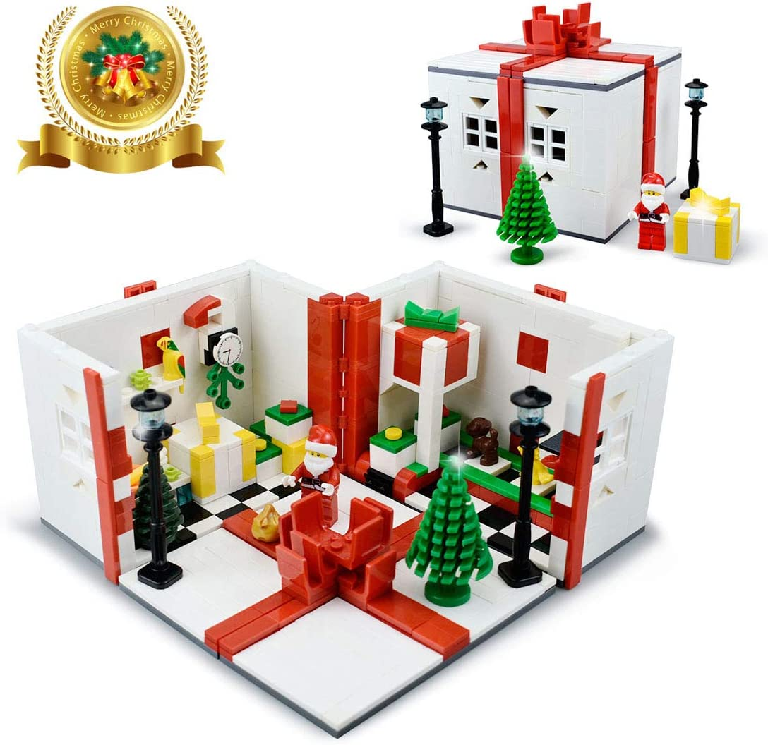 Christmas Santa Gift Box Building Kits Moc Toy for Kids Winter Holiday Dream House Building Blocks Bricks Set for Compatible with Lego Building Set