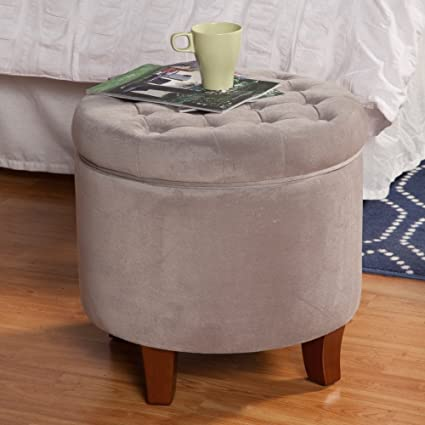 Peachy Amazon Com Large Button Tufted Round Storage Ottoman Wood Gmtry Best Dining Table And Chair Ideas Images Gmtryco