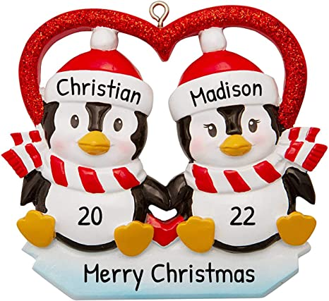 Amazon Com Personalized Penguin Couple In Glitter Heart Christmas Tree Ornament 2020 Cute Happy Playful Romantic Black Bird Together Sibling Friend Winter Activity Tradition Holiday Year Free Customization Home Kitchen