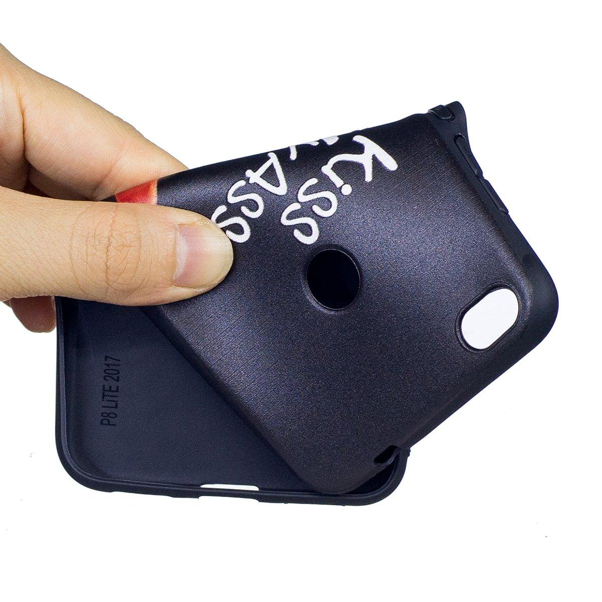 Piuma Farfalla ISAKEN Compatibile con Huawei P8 Lite Cover Morbido TPU Custodia Cover Slim Anti Scivolo Custodia Protezione Posteriore Cover Antiurto con Nero Bumper e Nero Back