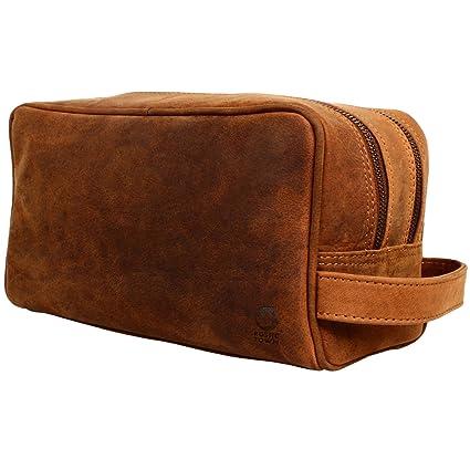 RusticTown - Bolsa de aseo Mujer niño Hombre niña marrón canela large