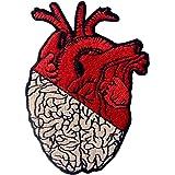 Parche termoadhesivo para la ropa, diseño de Corazón y cerebro